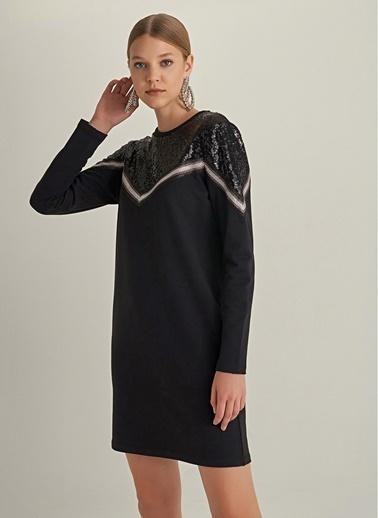 NGSTYLE Payet Detaylı Sweat Elbise Siyah